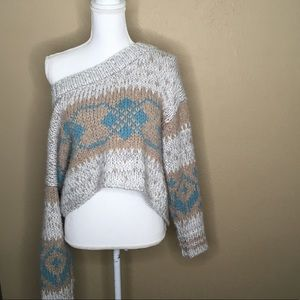 Free people fair isle oversized crop sweater